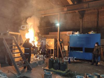 Ввод в эксплуатацию печи емкостью 500 кг со станцией охлаждения закрытого типа в Оренбурге